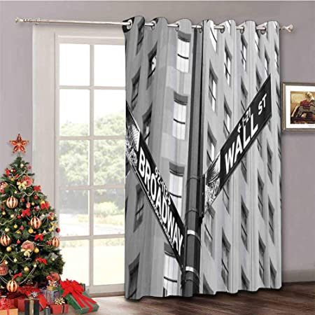 Nyc Decor Extra Wide Blackout Curtains Street Signs Of Intersection Of Wall Street And Broadway Finance