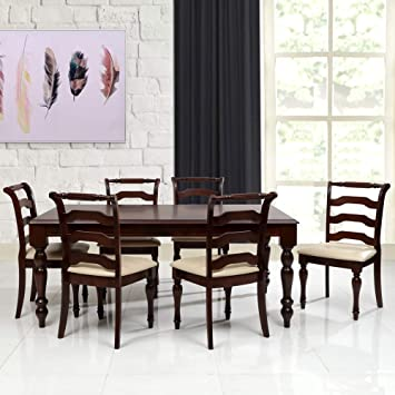 8e1be8fb7f Evok Turner 6 Seater Dining Table Set (Cappuccino): Amazon.in: Home &  Kitchen
