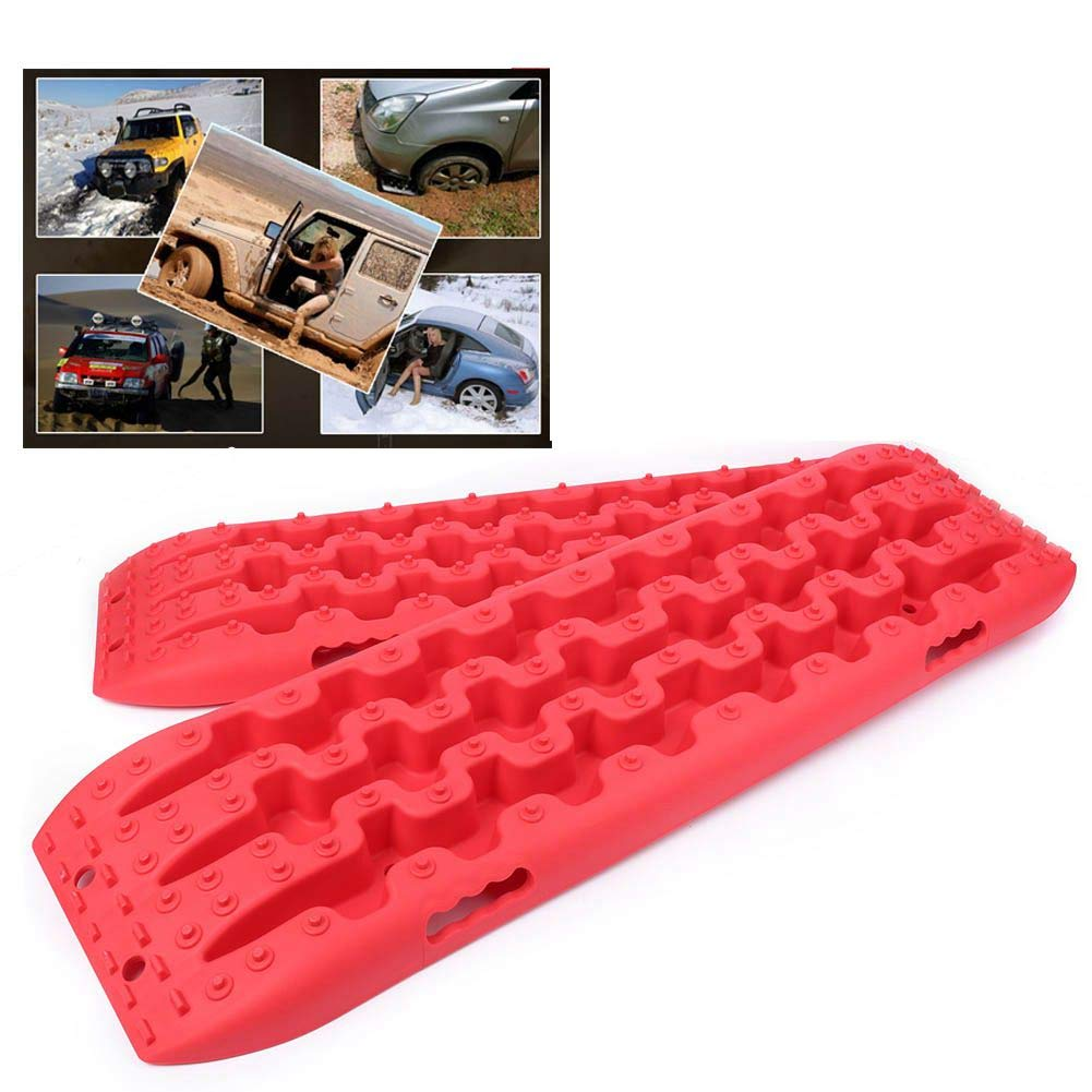 GZYF Pair Auto Recovery Traction Tracks Emergency Tires Ladder Sand Mud Snow Track Boards Mat 4WD Off Road by GZYF