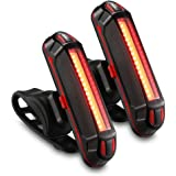 GPMTER Ultra Bright Bike Tail Light, USB Rechargeable Taillight, Waterproof Bicycle LED Rear Light for Road MTB Mountain Bikes, Helmets. Easy to Install for Cycling Safety Flashlight