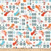 Cloud 9 Annabella Retro Garden Organic Fabric by the Yard, White/Multi