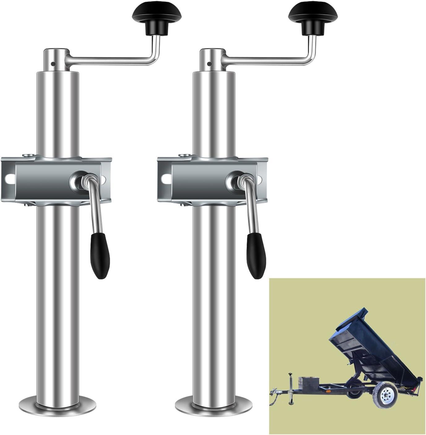 Kefflum 2x Anhängerstütze Abstellstützen Incl Halterung Und Klemmhalter Für Pkw Anhänger Anhängerstützen Höhe 480mm 690mm 2t Traglast Auto