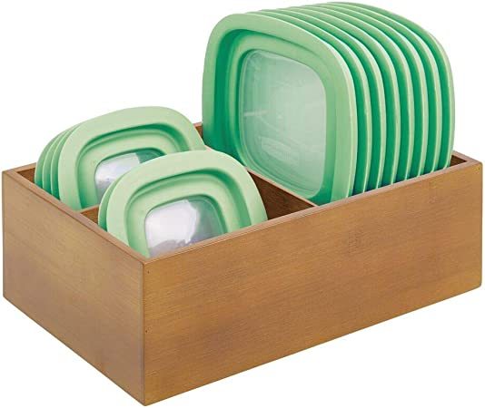 mDesign Organizador de tapaderas – Práctica caja de almacenaje con 3 compartimentos para ordenar tapas – Moderna caja organizadora de madera para la despensa o los armarios de la cocina – marrón: Amazon.es: Hogar