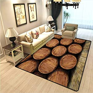 Wine Carpet Rugs for Living Room Wall of Wooden Barrels Wine Stack Storage Gallon Antique Vintage Container Rustic Design Home Decoration Carpet Brown W6xL8.8 Ft