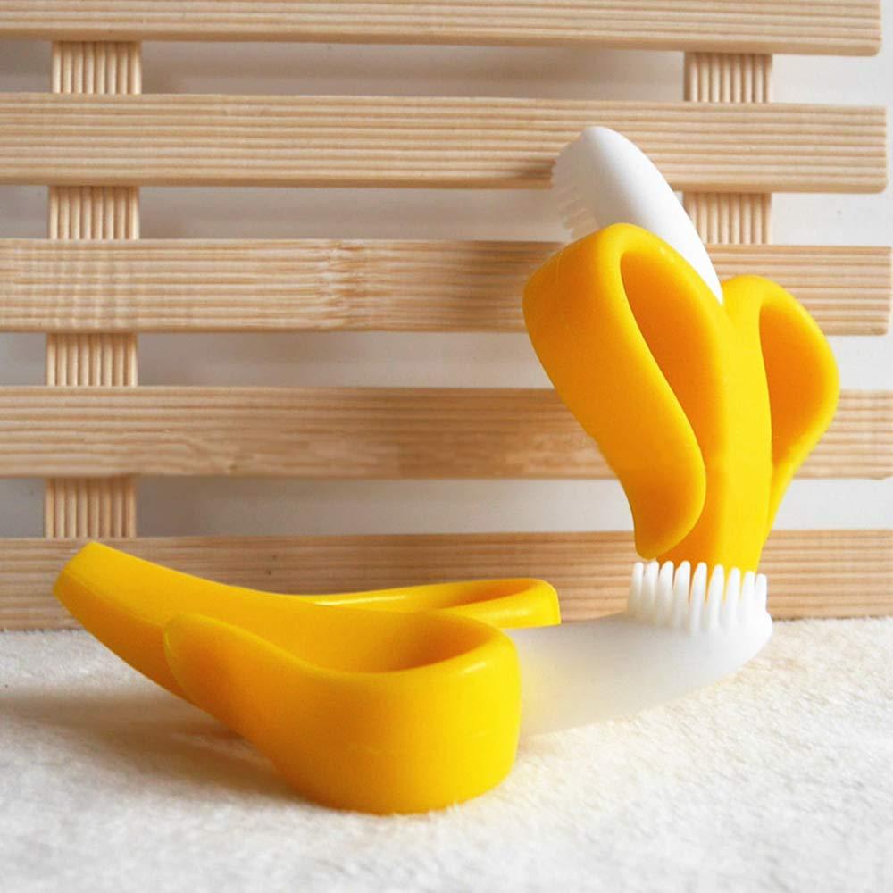 Infant Teething Training Toothbrush Banana Yellow 2PACK Banana Teether BurningDream Baby Teether Toys BPA Free