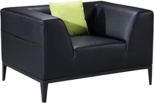 American Eagle Furniture Olivia Mid Century Modern Living Room Faux Leather Upholstered Armchair with Throw Pillow, 45 , Black