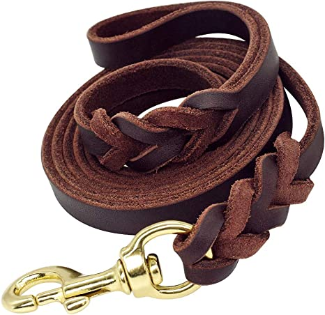 6.5 Foot Braided Leather Dog Leash Heavy Duty Leads for Medium Large Dogs USA