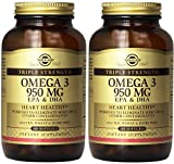 omega 3 solgar - Solgar - Triple Strength Omega 3 EPA & DHA 950 Mg, 100 Softgels - 2 Pack