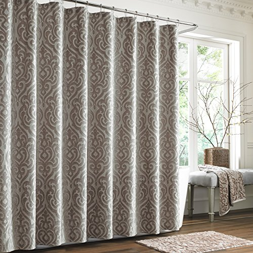 Five Queens Court Sarah Woven Jacquard Medallion Shower Curtain, - Hotel Shower Curtain Nylon