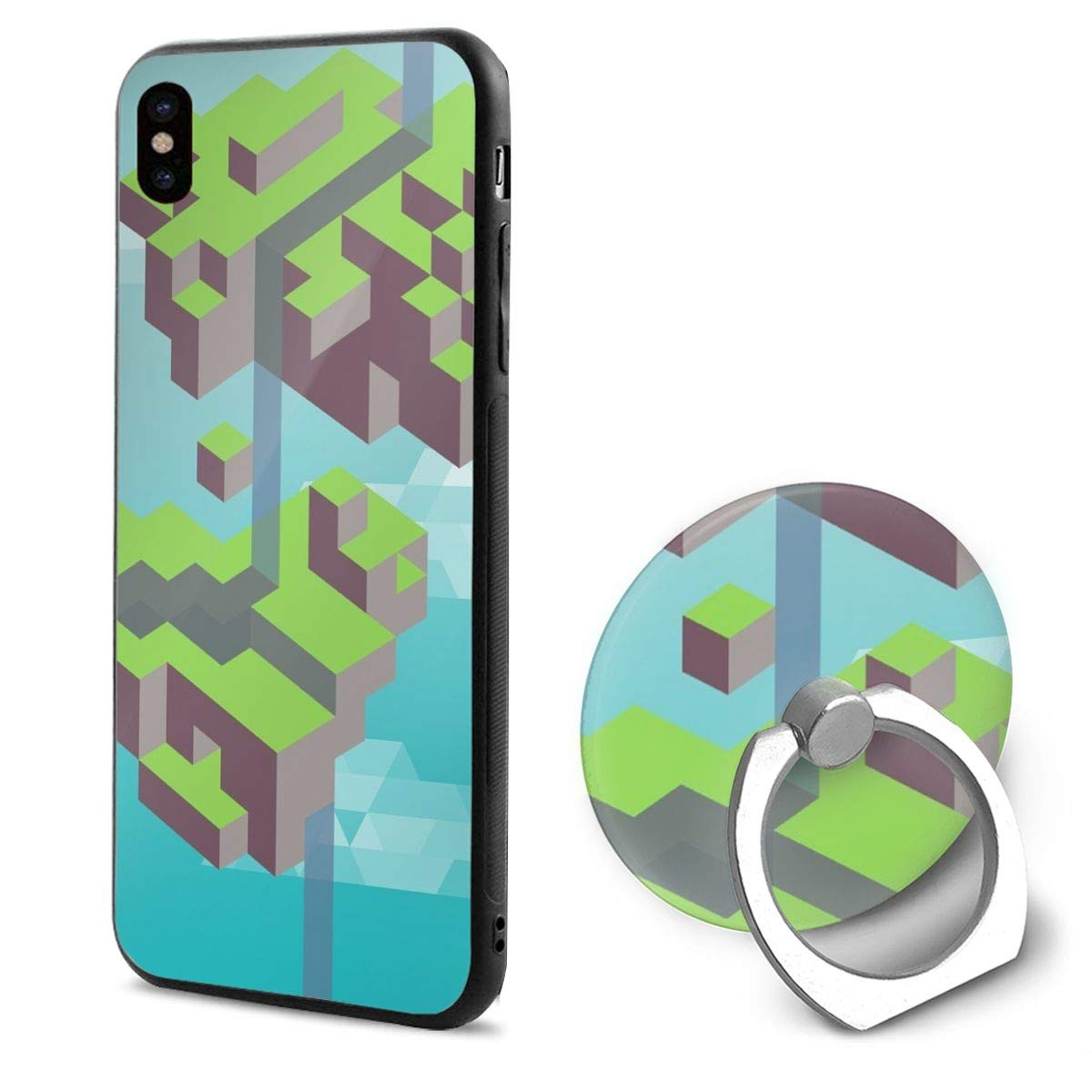 IPhone X Case Geometry Pattern With Ring Holder 360 Degree Rotating Stand Grip Mounts Slim Soft Protective Cover