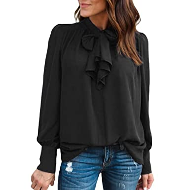 98d62e2e71 GONKOMA Women Casual Chiffon Blouse Long Sleeve Solid Tie Bow Tops T-Shirt  Fashion Office