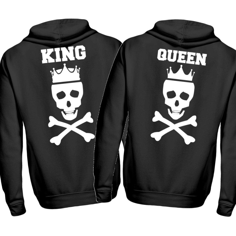 2er Set Partner Pärchen Hoodie King + Queen Totenkopf mit Krone für Damen und Herren Lifestyle Partnerlook Kapuzenpullover
