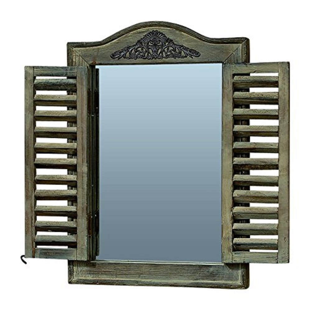 Whole House Worlds The French Country Style Rustic Window Mirror with Shutters, Sustainable Wood, Approx. 18 Inches High, Distressed Gray Wash with Vintage Style Metal Decoration, By