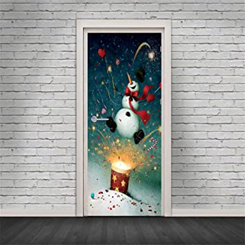 door wall mural wallpaper christmas snowman fireworks 3d door stickers removable waterproof door wall mural wallpaper
