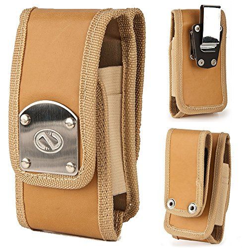 Gladiator Nubuck Brown Leather Heavy Duty Rugged Case with Belt Loop Clip and Steel Clip for Kyocera DuraXE.