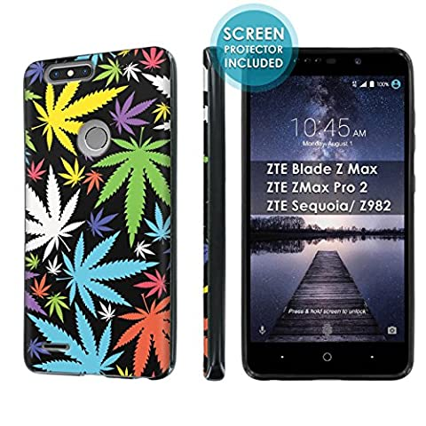 ZTE Blade Zmax Pro 2/ZTE Sequoia [SlickCandy] [Black] Slim Fit Gummy TPU Phone Case [Screen Protector] - [Rainbow Marijuana (Zte Zmax Phone Case Marijuana)