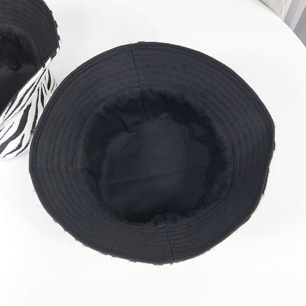 Qiuxiaoaa Unisex Faux Felt Harajuku Bucket Hat Zebra Stripes Print Reversible Panama Cap
