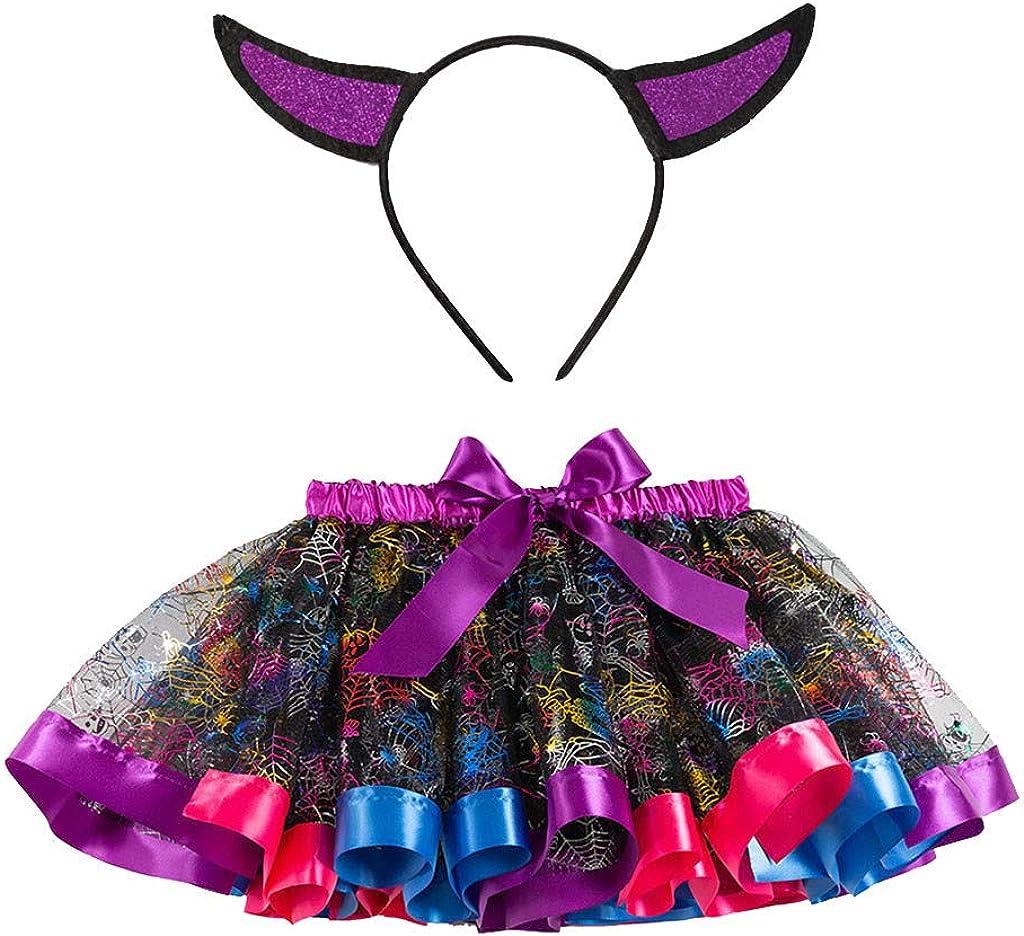 Fossen Kids - Lindo Disfraz Vestido de Fiesta Chica Halloween Navidad Cosplay de Arco - Tutu Falda de Malla + Diadema de Oreja, Traje de Bruja Disfraz de Rendimiento