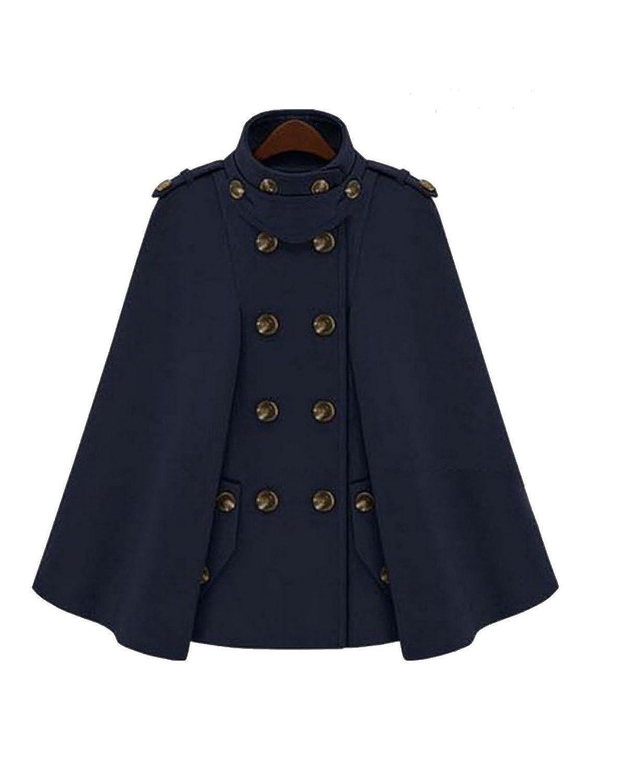 Krralinlin Trench Wool Double Breasde Outwear Cape Women's Shawl Jacket