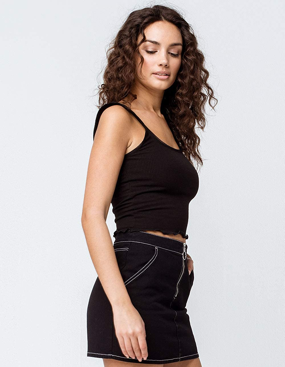 740d6f1bc5875f Amazon.com: Full Tilt Ribbed Scallop Trim Black Crop Tank Top: Clothing