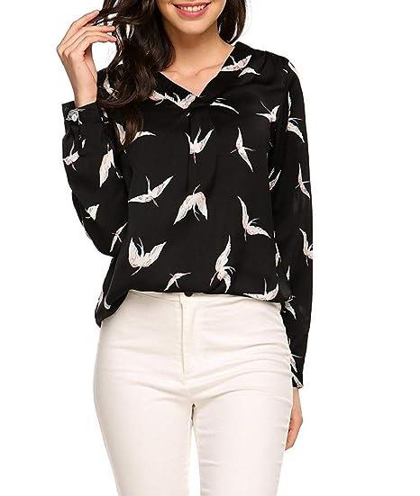 Oudan Pájaros de Las Mujeres Impresas Camisetas de Manga Larga de ...