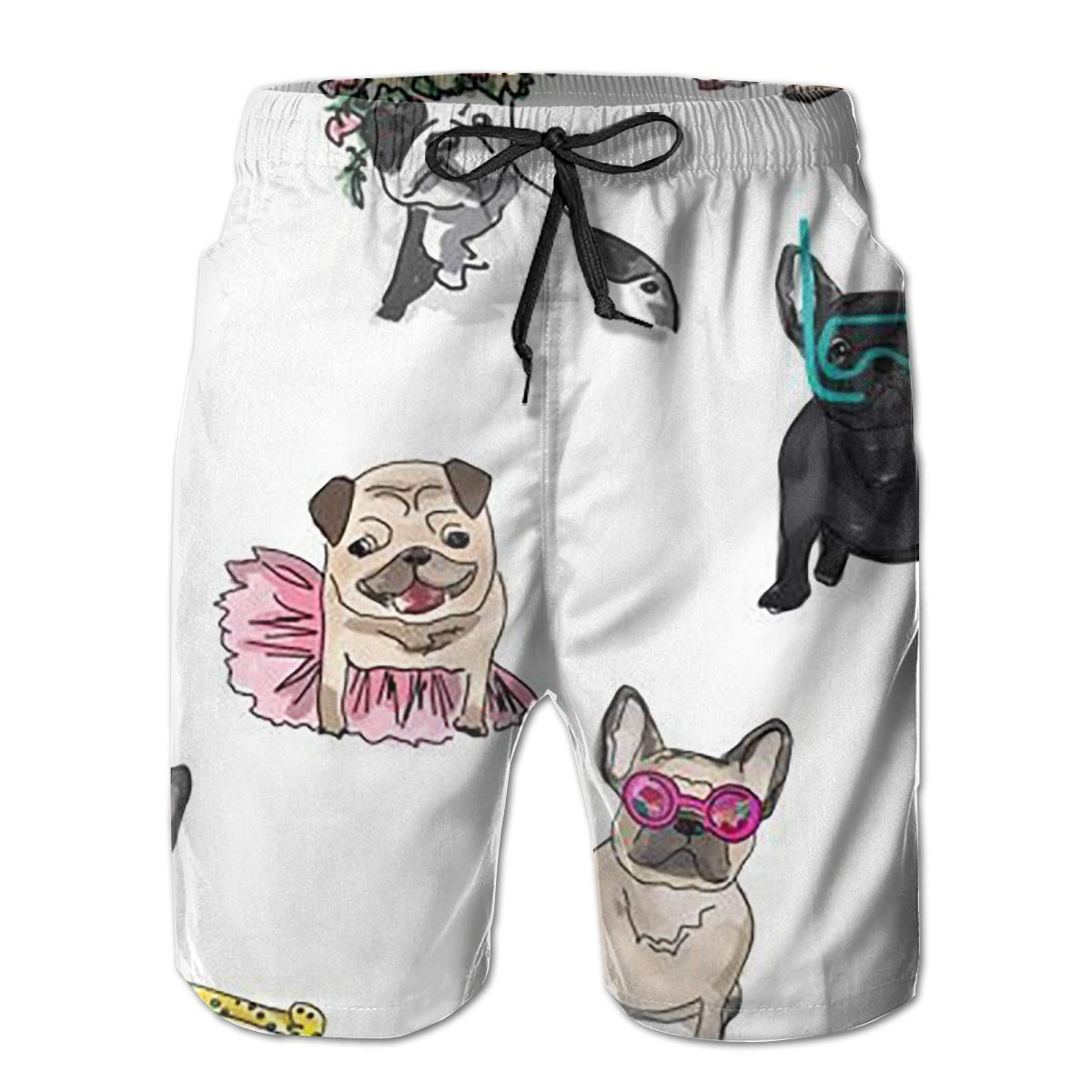 French Bulldog Art Digital Funny Summer Quick-Drying Swim Trunks Beach Shorts Cargo Shorts