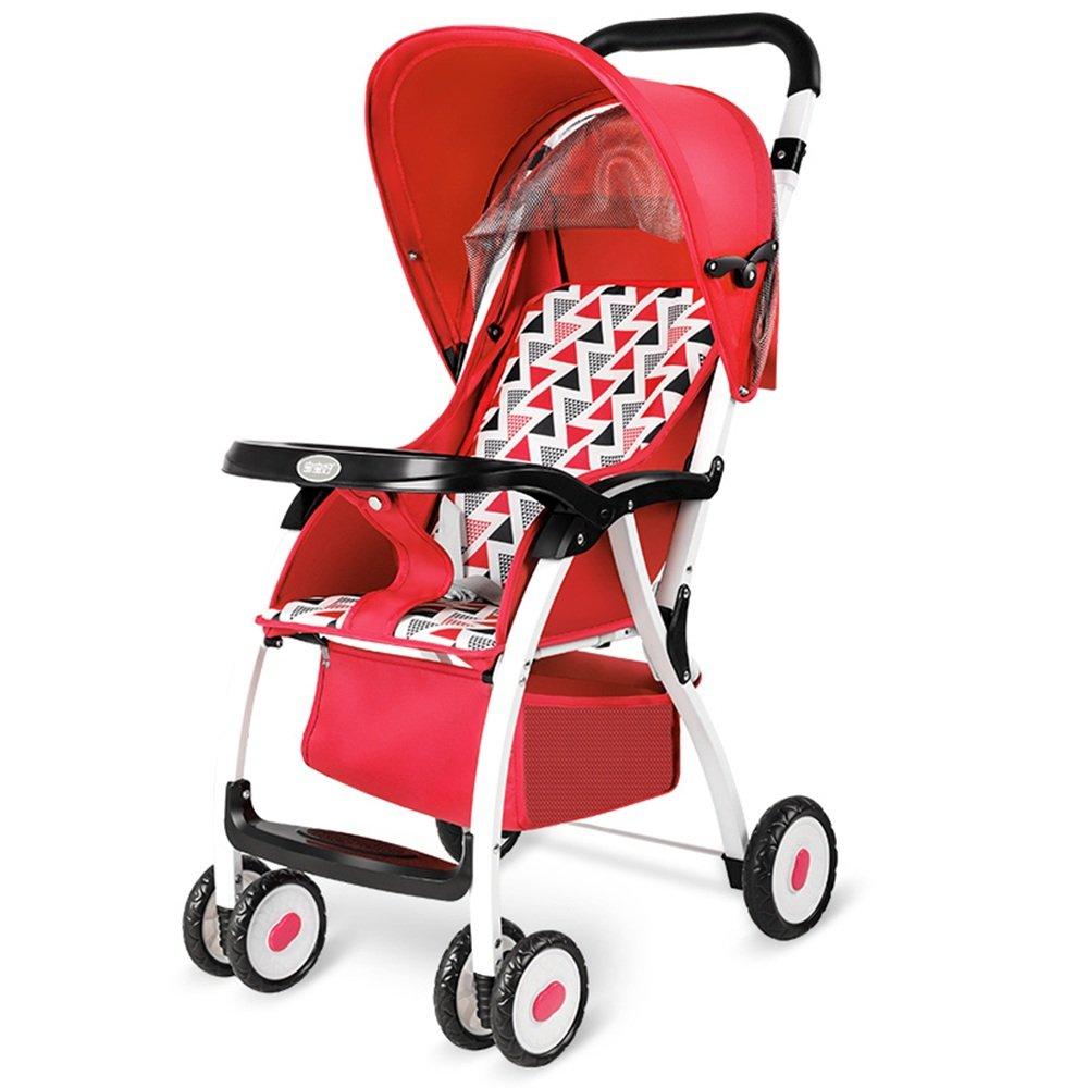 HAIZHEN マウンテンバイク ベビーカーベビーカー折りたたみ式軽量屋外席リクライニング 新生児 B07CCKTZQS Network|赤 赤 Network