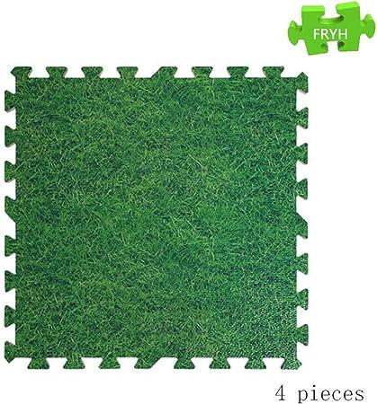 FRYH Tapis Vert dherbe Dimitation Carreaux De Tapis De Jeu en Mousse Tapis De Sol,A