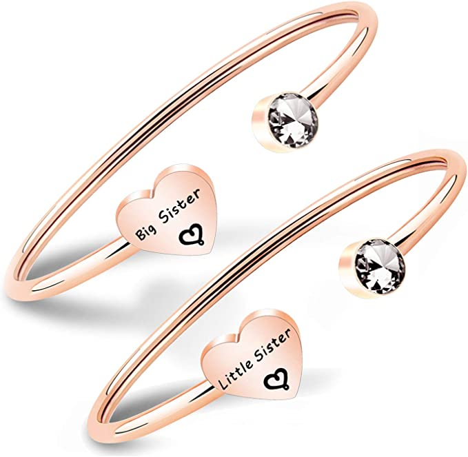 Personalized Sisters Siblings Match Bangle Bracelets Hand Stamped Aluminum Cuff Bracelets Set big sister little sister Big Sis Lil Sis