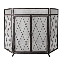 WBHome 3 Panel Wrought Iron Fireplace Sc...