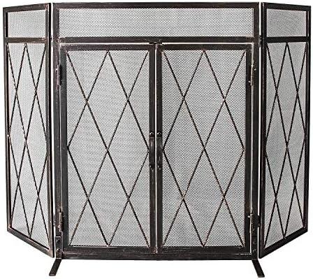 WBHome - Pantalla para chimenea de hierro forjado con 3 paneles y puertas de malla de metal para decoración de bebés, a prueba de fuego, accesorios para quemar leña: Amazon.es: Hogar