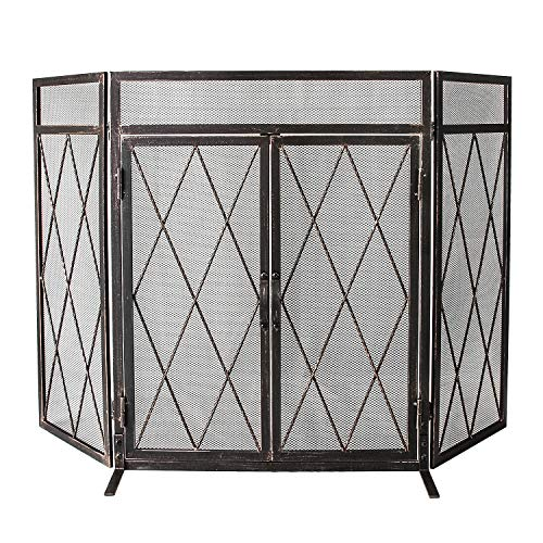 WBHome 3 Panel Wrought Iron Fireplace Screen with Doors Large Flat Guard Metal Decorative Mesh Cover Baby Safe Proof Firewood Burning Stove Accessories (50
