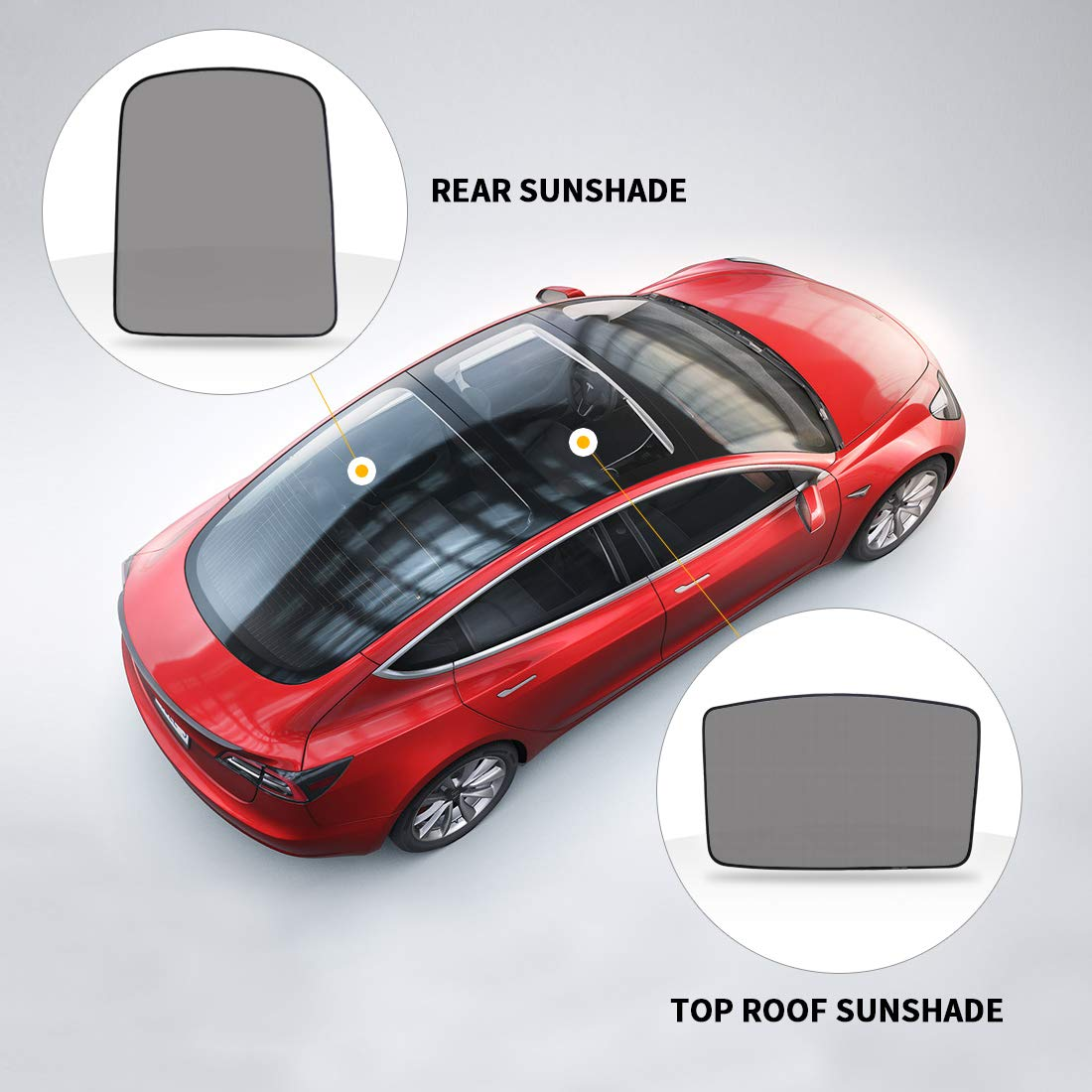 Roof /& Rear BougeRV for Tesla Model 3 Glass Roof Rear Sunshade Sun Visor Protector Sun Shade Compatible for Model 3