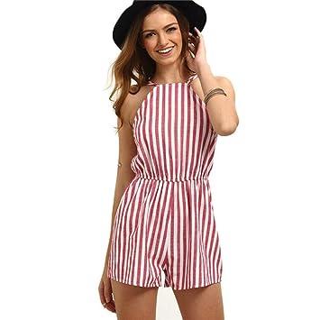 tifiy mujeres moda verano Pelele Mono verano playa rayas sin espalda Playsuit mujer trajes set Loose playsuits 4 tamaño, mujer, rojo: Amazon.es: Deportes y ...