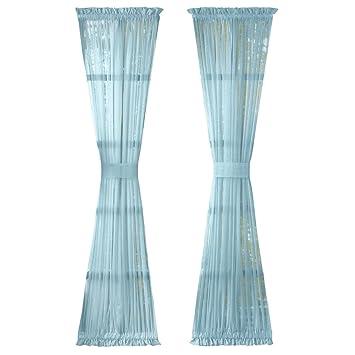 Solid Sheer Rod Pocket Patio, Back Door, Front Door Curtain Panels, Blue,