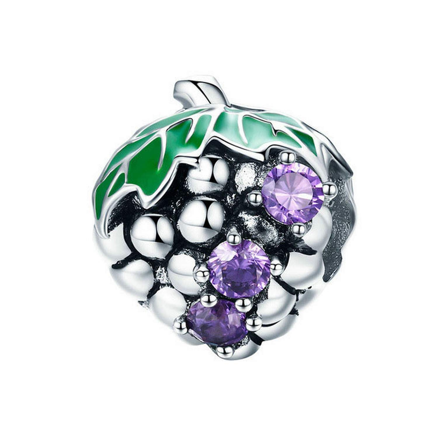 Evereena Silver Beads Bracelet for Girls Fashion Purple Grape Fruit Charm Womens Jewelry