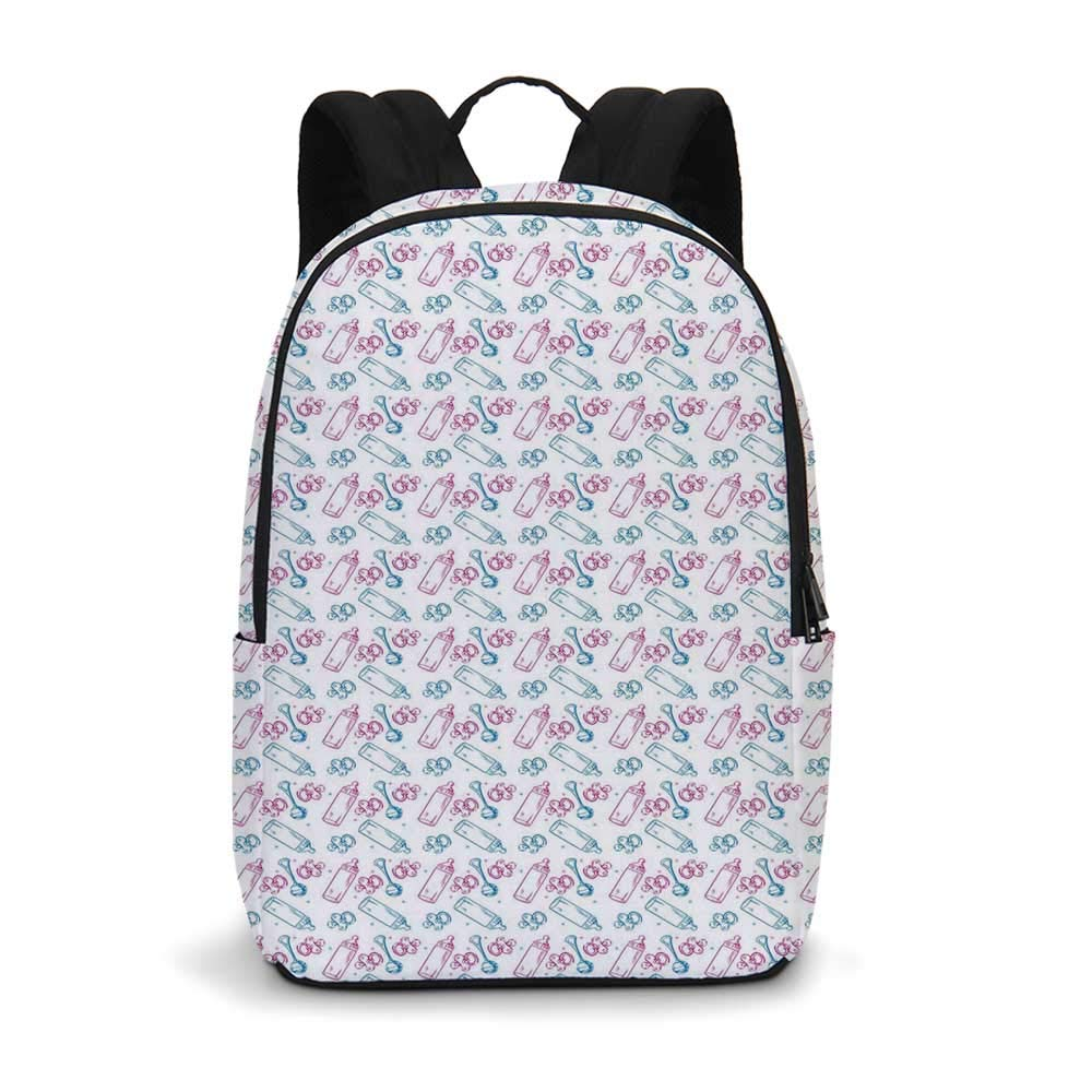 Baby Modern simple Backpack,Milk Bottles Pacifiers Rattles Pattern Hand Drawn Baby Toys Themed Ornate Image for school,11.8''L x 5.5''W x 18.1''H