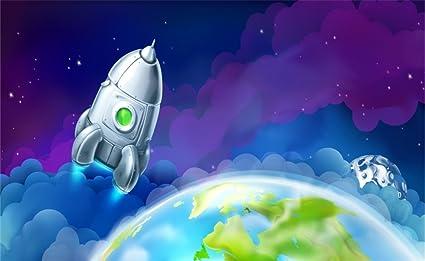 amazon com leowefowa vinyl 5x3ft cartoon backdrop space starry