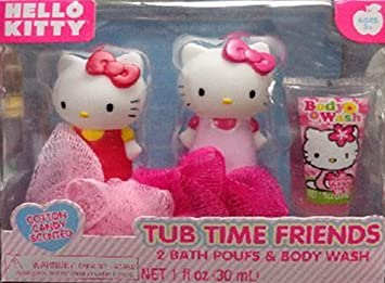 Hello Kitty Bath Set 2 Puffs And Body Wash