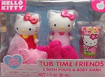 Hello Kitty Bath Set 2 Puffs And Body Wash