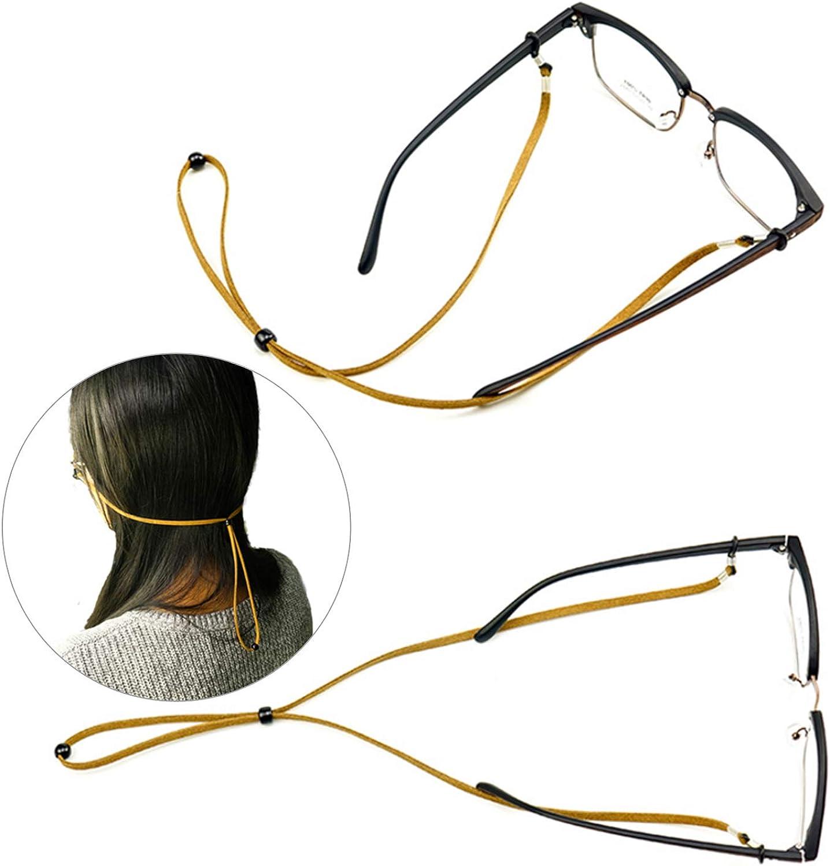 Gafas de Ojo Correa Gafas Gafas de Cuero Falso Fijo Cadena 70cm-6 Piezas con 1 Pa/ño de Limpieza de Gafas