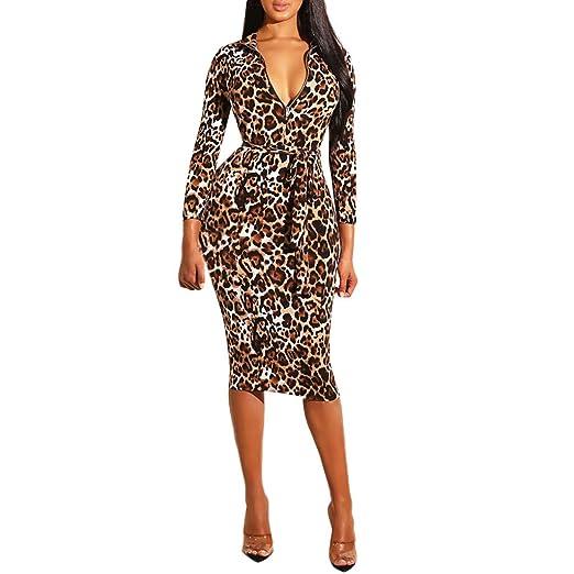 6015aef342f Amazon.com  Opeer 2019 New ! Ladies Leopard Print Mini Dresses Zip Belt Sexy  Women Long Sleeve Sheath Hip Tight Dress  Clothing