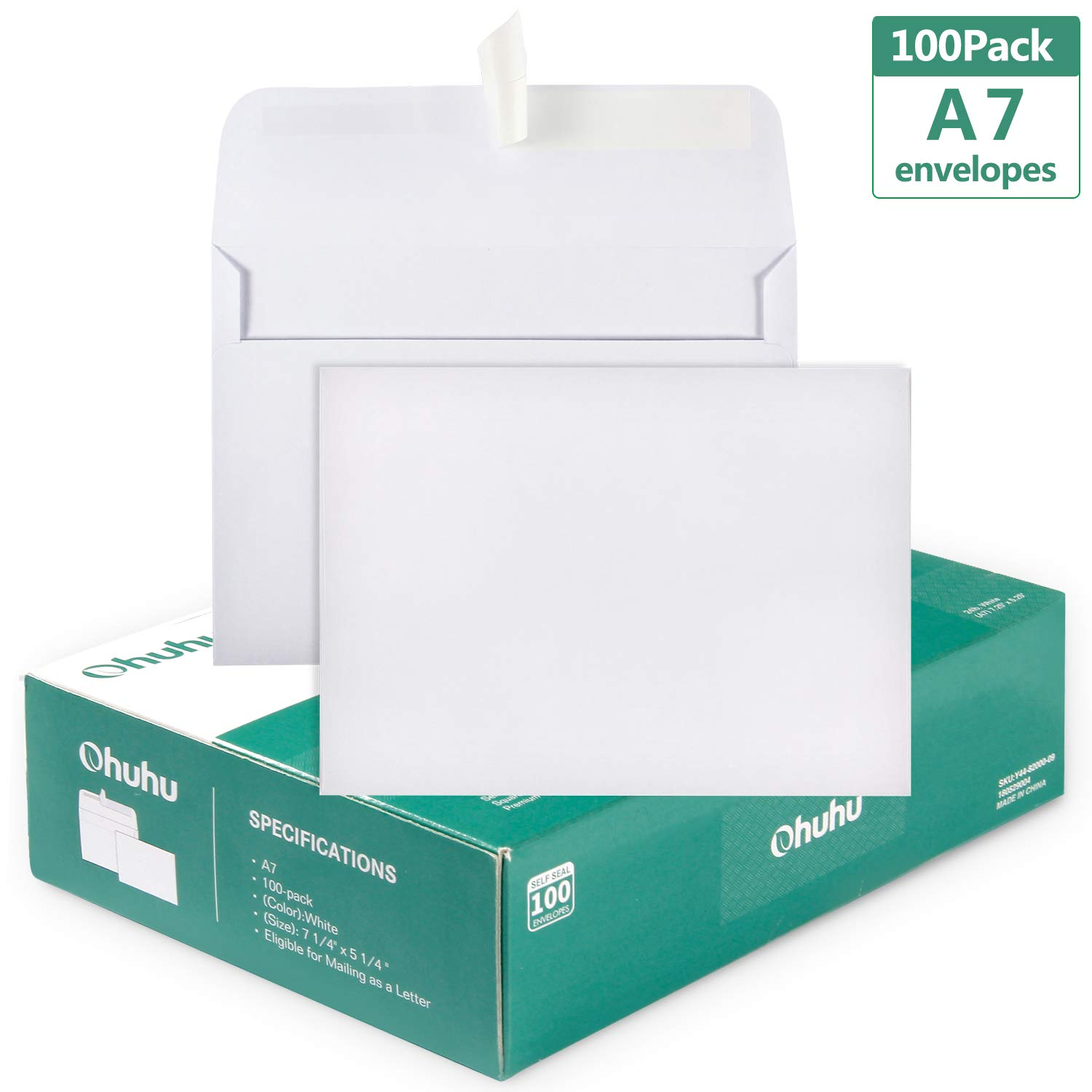 """100 White A7 Envelopes, Ohuhu A7 5-1/4'' x 7-1/4"""" Printable SELF Seal Envelopes Perfect for 5x7 Chirstmas Cards, 5x7 Photos, Weddings, Invitations, Baby Shower, Birthday, Party Invitations"""