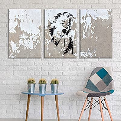 3 Panel Canvas Wall Art - Triptych Street Graffiti Series - Marilyn Stencil - Giclee Print Gallery Wrap Modern Home Art Ready to Hang - 24