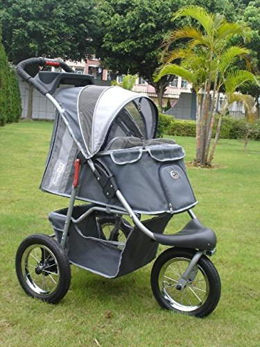 InnoPet Pet Stroller,IPS-045,Dark Grey/Light Grey, Dog Carrier, Trolley, Trailer, Buggy Comfort with Airfilled Tyres. Foldable pet Buggy, Pushchair, pram for Dogs and Cats