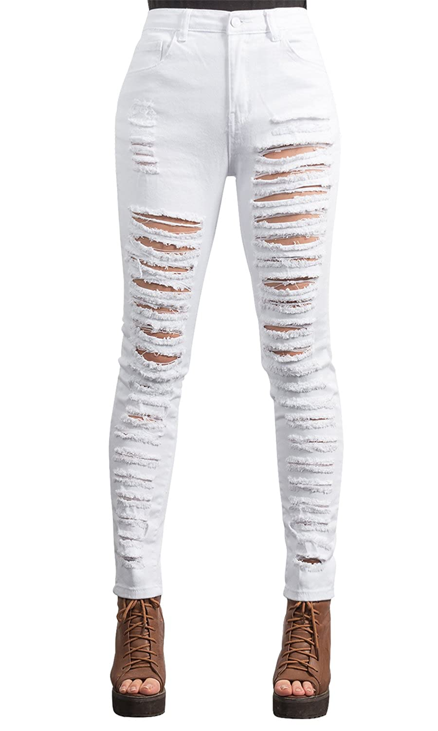 ililily Women High Waist Destroyed Ripped Holes Skinny Jean Distressed Pants