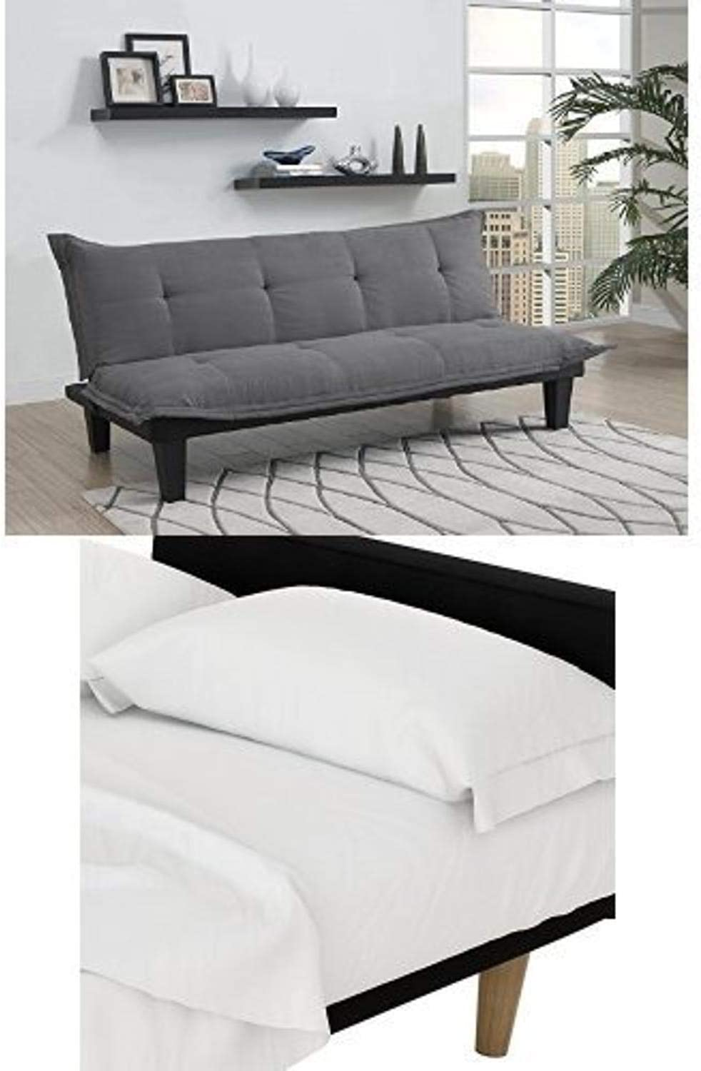 DHP Lodge Convertible Futon Couch Bed, Gray, and Futon Sheet Set, White