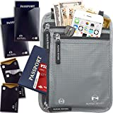Neck Wallet Travel Pouch & Passport Holder RFID Blocking with 5 Bonus Sleeves
