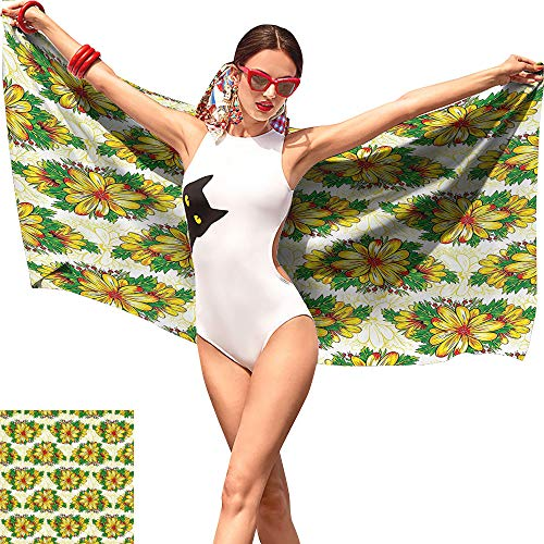 Camerofn Garden Sloth Beach Towel,Vibrant Spring Flower Daisy Petals Florets Buds Blossom Summer Design Earth Yellow Hunter Green,Lightweight Beach Towel W19 x ()