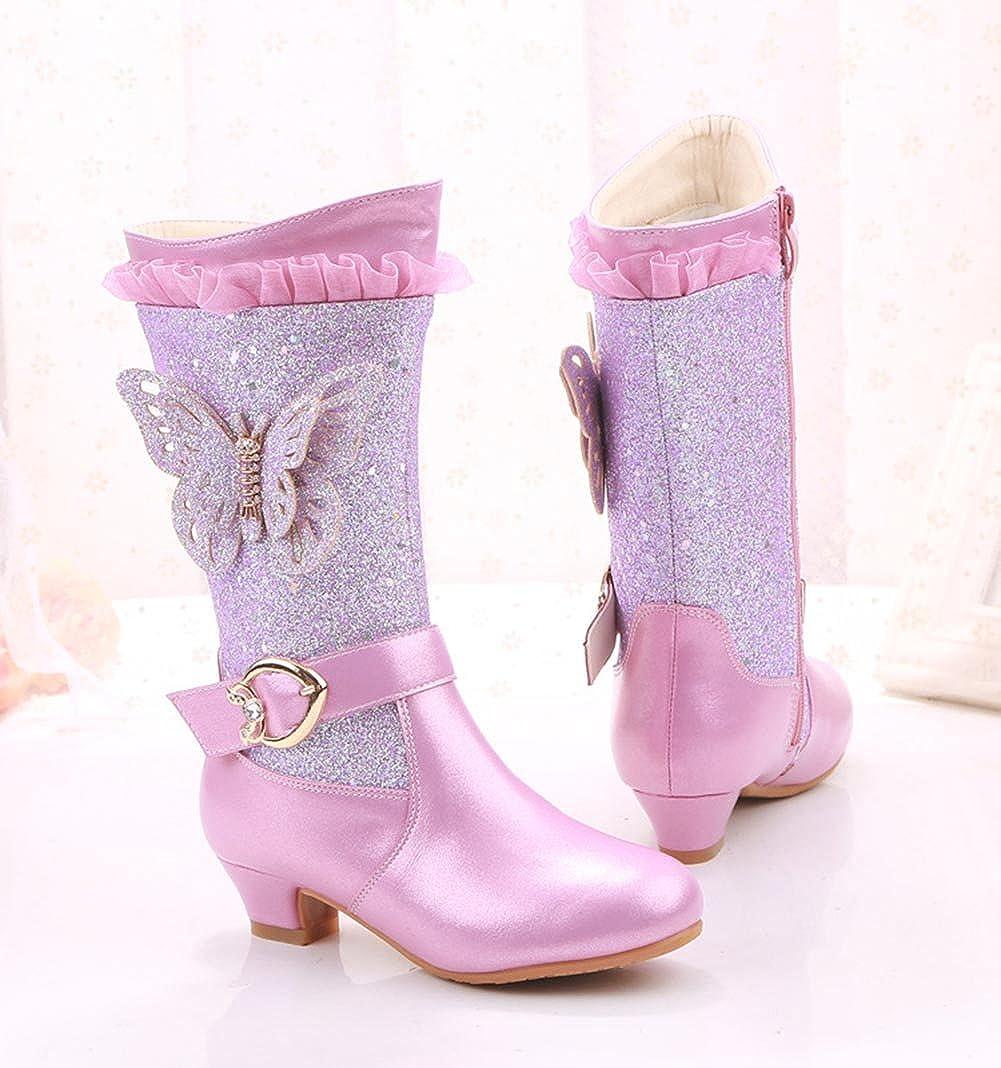 1.5 M US, Purple Girls Zip Tall Princess Boots Winter High Boot Outdoor Snow Warm Glitter Weather Boot
